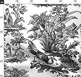 Toile De Jouy, Chinoiserie, Asiatisch, Klassisch, Schwarz