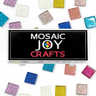 Mosaic Joy 100 Pieces/1 Pound Assorted Colors Genuine Mosaic Tiles Glitter Crystal Mosaic for Home Decoration Crafts Sparkle Mosaic Supply 10 Colors Assorted, Square Shape 0.8x0.8 inch