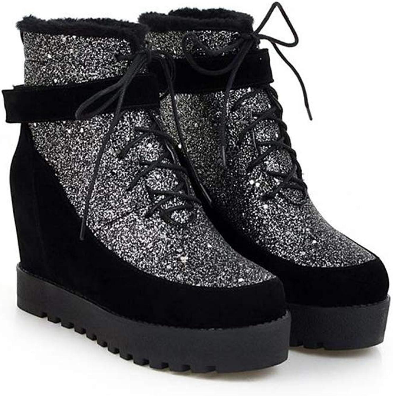 T -JULY Ankle stövlar kvinnor stövlar Platform Platform Platform Fur Snow stövlar Girls Lace up skor Warm Bota Footwear Bomull skor  lagreklam
