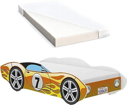 iGLOBAL Cama infantil con diseño de coches, con somier y colchón de espuma, 140 x 70 cm, color amarillo
