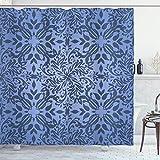 Cortina de Ducha Oriental, Flores rizadas inspiradas en Mandala y Detalles de Hojas, ilustración de Marco, Juego de decoración de baño de Tela de Tela con Ganchos, Azul Pizarra