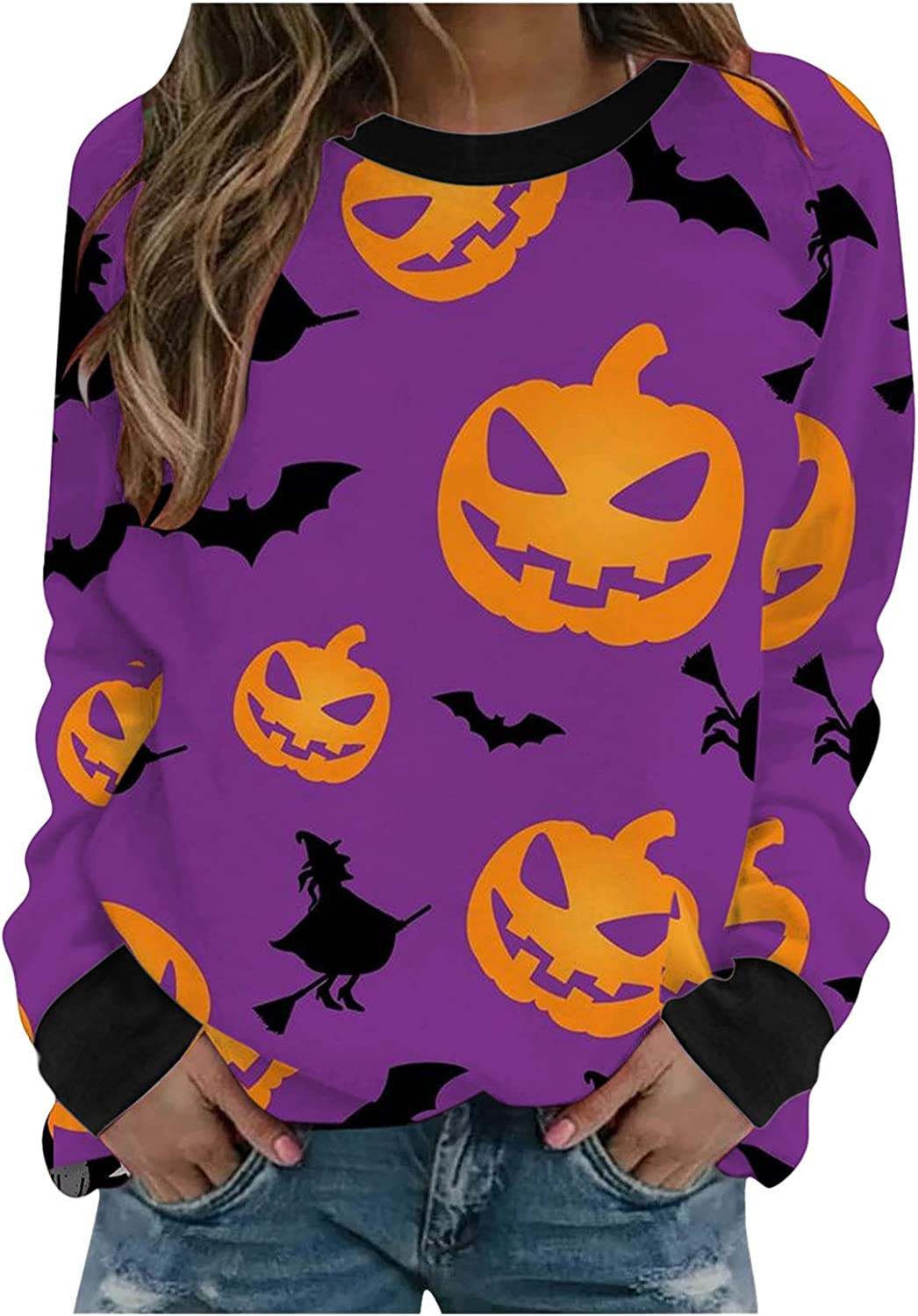 UOCUFY Halloween Sweatshirts for Women, Womens Casual O-Neck Long Sleeve Pumpkin Printed Cute Novelty Pullover Tops