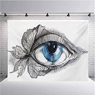 Eye Photography Background Cloth Abstract Human Eye with Butterfly Eyelashes Painting Style Dreamy Female Look for Photography,Video and Televison 12ftx8ft Black White Blue