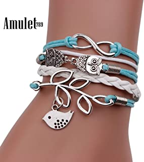 Hot Sale Jewelry Bracelet Retro Women 8 Owl Leaf Bird Bracelet Bangle Charm Cuff Jewelry Wedding Fashi