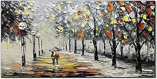 """现代艺术品无框架油手绘3D雨中的街景调色刀画家用办公室装饰画壁画艺术绘画(60 * 120cm /23.6""""x47.2"""")"""
