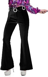 Charades Womens 70s High Waisted Flared Black Disco Pants