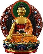 ZGPTX Resin Master Saga Buddha Painted Sanbao Buddha with The Small Buddha Statue of The Small Buddha to Serve The Buddha