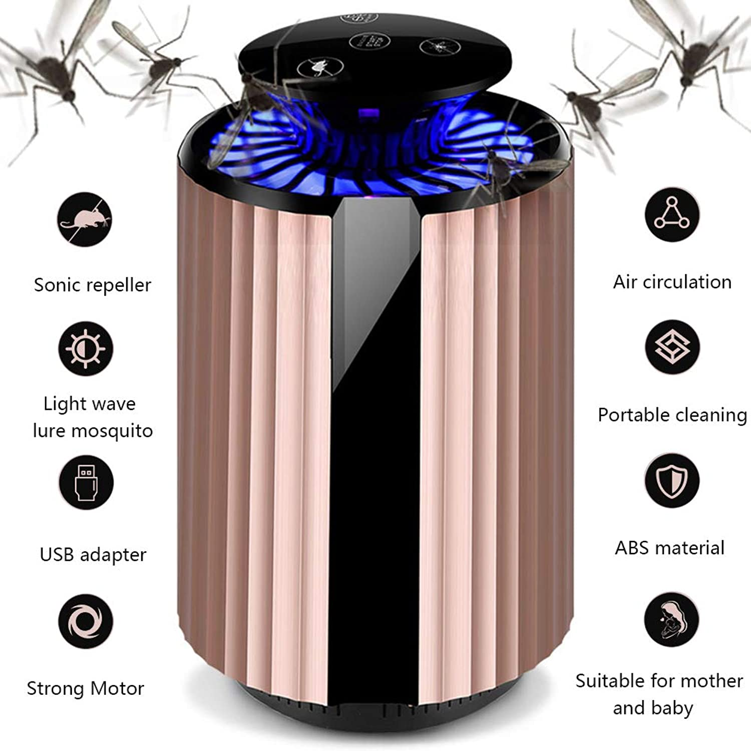 New Electric USB Mosquito Killer Lamp Home Radiationless Mosquito Repellent Table Lamp LED Bug Zapper Fly Bug Dispeller Insect Trap Air Circulation Pest Repeller,gold
