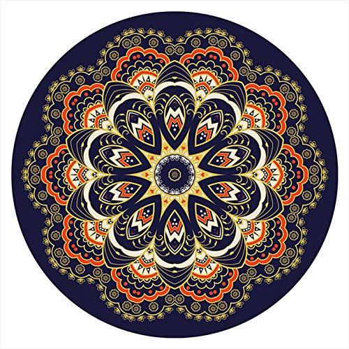 AZUOYI Alfombra Redonda Dormitorio, Antideslizante Mandala, Sala de Estar Baño Cocina Suave Alfombra Alfombra de Piso Decoración del hogar,120cm