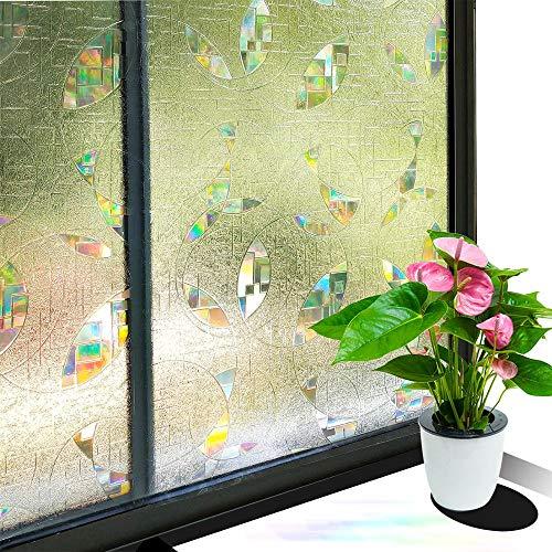 N / A 3D undurchsichtige Sichtschutzfolie Nicht klebende elektrostatische Schließe Bunte dekorative Mattglasabdeckung UV-beständiges rundes Design A14 60x100cm
