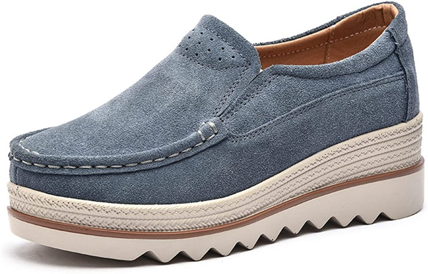 Ruiatoo Women's Leather Platform Slip on Loafers Comfort Moccasins Low Top Casual shoes bluee Grey 42