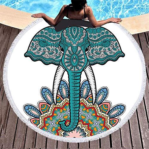 BCDJYFL Microfibra Toalla De Playa Elefante Creativo De Secado Rápido, Toalla De Microfibra para Sauna Toalla De Playa Toalla De Viaje Playa Sauna.-Diámetro: 150Cm
