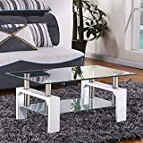 Mecor Rectangle Glass Modern Coffee Table with Shelf & Wood...
