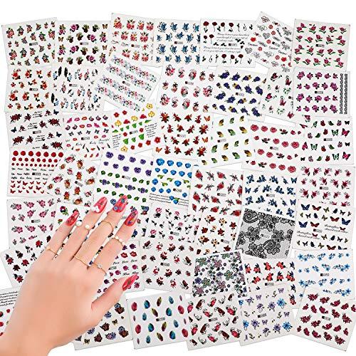 50 fogli di misto-colore 3D Design punta autoadesivi Nail Art Stickers adesivi Nail Tips decorazioni