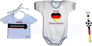Zigozago - PERSONALIZZABILE - Set MONDIALI GERMANIA composto da bavaglino + Body + portaciuccio