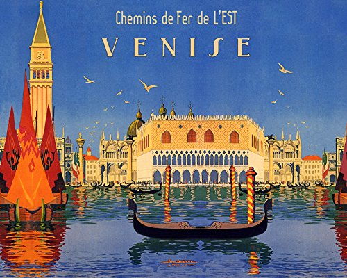 """16"""" X 20"""" Gondola Sailboat in Venice Venezia Italy Italia Italian Travel Tourism Vintage Poster Repro Standard Image Size for Framing. We Have Other Sizes Available!"""