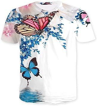 TONGS Camiseta Creativo 3D Impreso Mariposa Modelo Corto ...