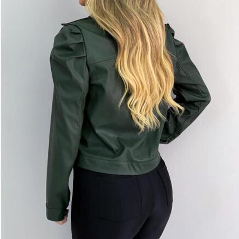 Women's Fall Leather Street Jacket Fashion Lapel Puff Sleeve Frayed Breasted Crop Tops Slim Fit Moto Biker Short Coat