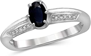 Jewelexcess 0.60 Carat T.G.W. Sapphire and Accent White Diamond Sterling Silver Ring