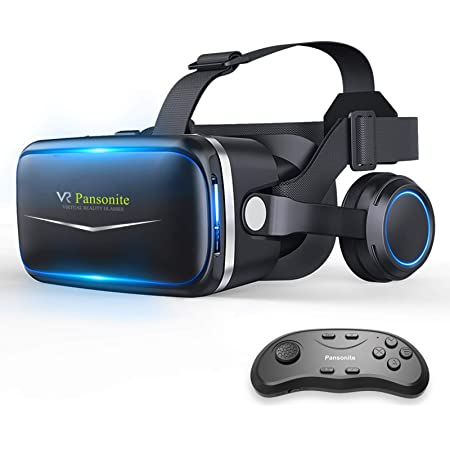 Pansonite VR Headset with Remote Control, 3D Glasses Virtual Reality Headset for VR Games & 3D Movies, Eye Care System for iPhone and Android Smartphones