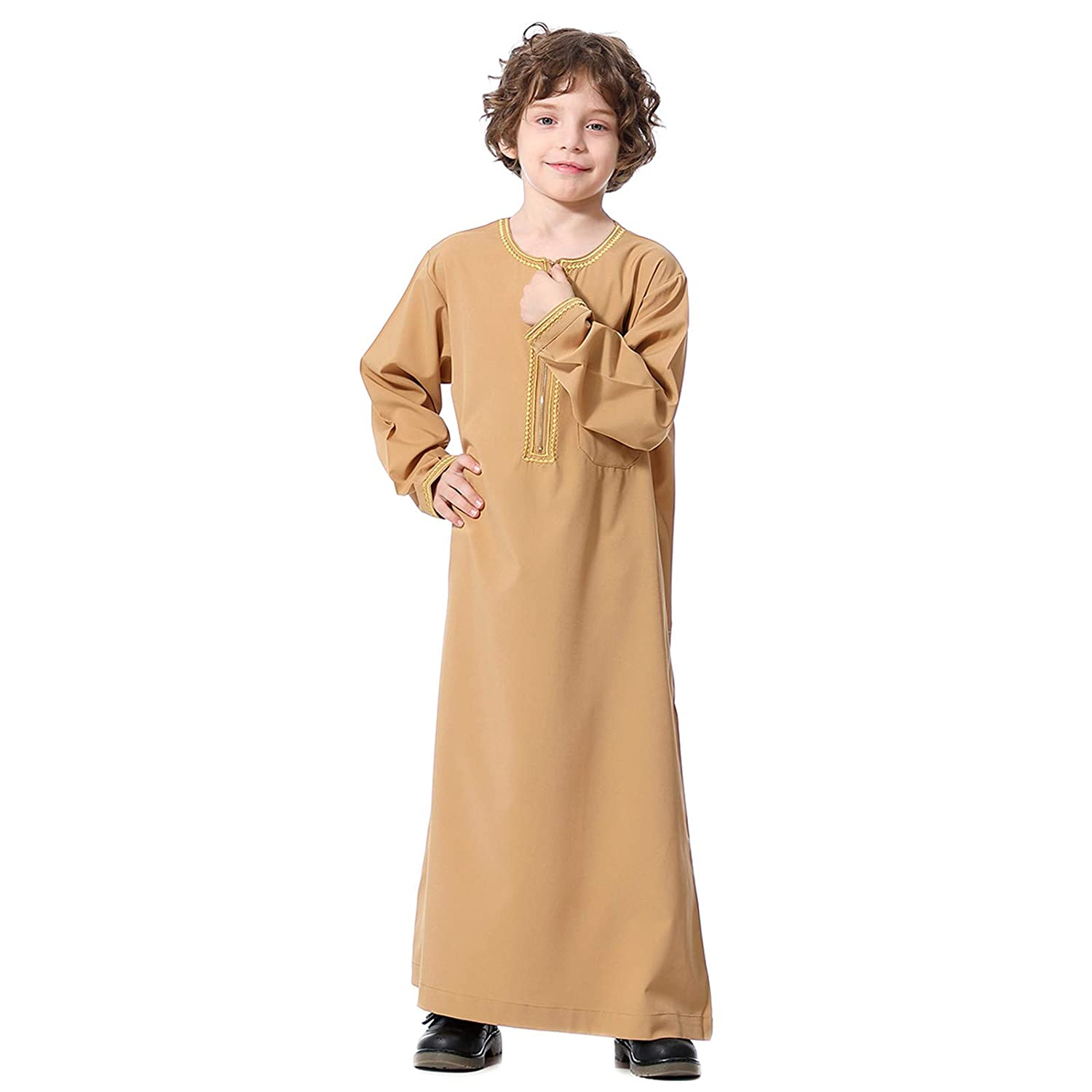 Moonite Muslim Robes for Boys - Solid Color Robe for Eid,Muslim Clothes