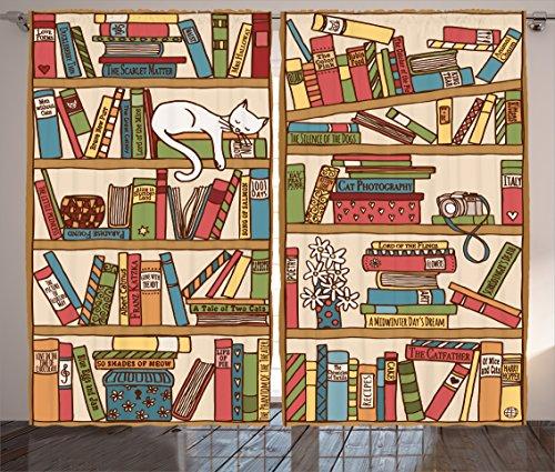 "Ambesonne Cat Curtains, Nerd Book Lover Kitty Sleeping Over Bookshelf Library Academics Feline Boho Design, Living Room Bedroom Window Drapes 2 Panel Set, 108"" X 84"", Brown Pink"