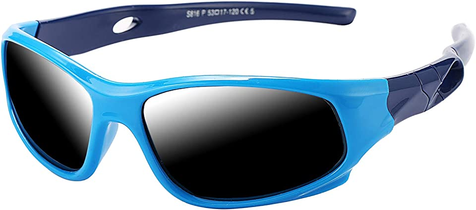 TR90 Unbreakable Polarized Sports Sunglasses for Kids Boys and Girls