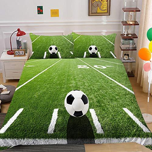 Adulto Adolescente Cama Doble 3PCS de Chaquetas y Almohadas, impresión de fútbol 3D Gas de bajo Modificado(Campo de fútbol, 135x200cm+1x50x75cm)