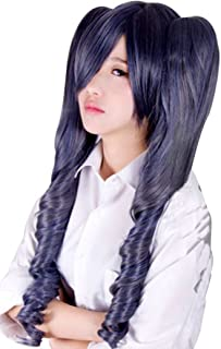 Anogol Hair Cap +Blue Mixed Gray Curly Cosplay Wig with 2 Ponytails Costume For Halloween Party