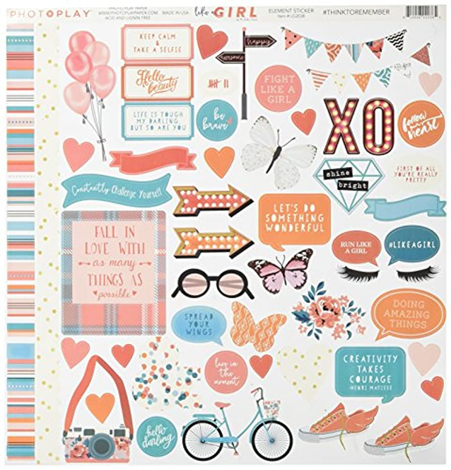 Photo Play Paper LG2038 Element Like a Girl Stickers, Multicolor