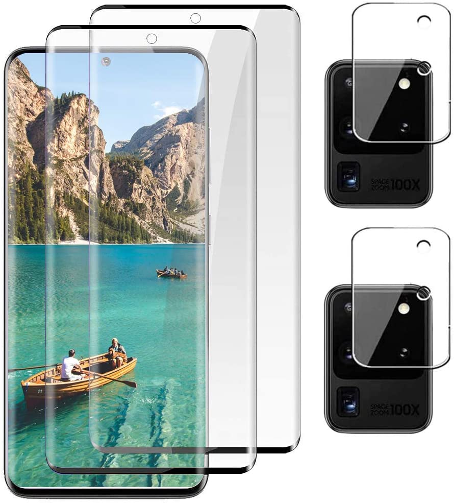 [2+2] Galaxy S20 Ultra HD/Lens Tempered Glass Screen Protector 3D Surface Supports Fingerprint Recognition 9H Hardness and Strong Self-Repairing Power, Suitable for Samsung Galaxy S20 Ultra(6.9'')
