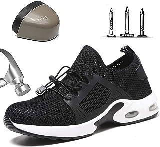 Wygwlg Men Lightweight Steel Toe Cap Work Shoes Breathable Anti-smashing Puncture Safety Shoes, Mesh Comfortable Hiking Sh...