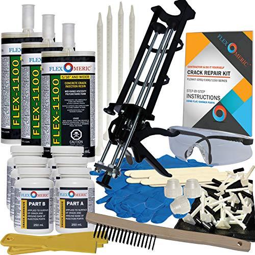 Concrete Foundation Crack Repair Kit - Mid-Range Viscosity Polyurethane - FLEXKIT-1100-30