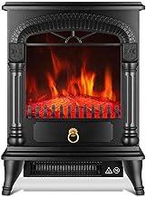 YLJYJ Estufa eléctrica portátil Chimenea de calefacción Electric Fire 1800W con Estufa de leña Efecto de Llama 3D y 2 configuraciones de Calor - Calentador de Espacio portátil Independiente A.