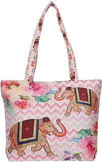 Swayam Printed Shopping Bag with Handle (Pink_Free Size)