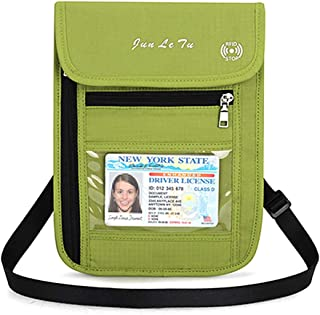 RFID Blocking Stash Neck Wallet, Travel Pouch + Passport Holder for Women & Men, Green-1 (Green) - PH07829GN01