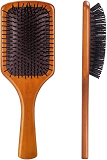 Paddle Brush with Boar Bristles Blow Drying Heat Resistant Non Slip Brush Hair Brush with Wooden Handle for Wavy Curly Thick Hair, Men, Women and Children