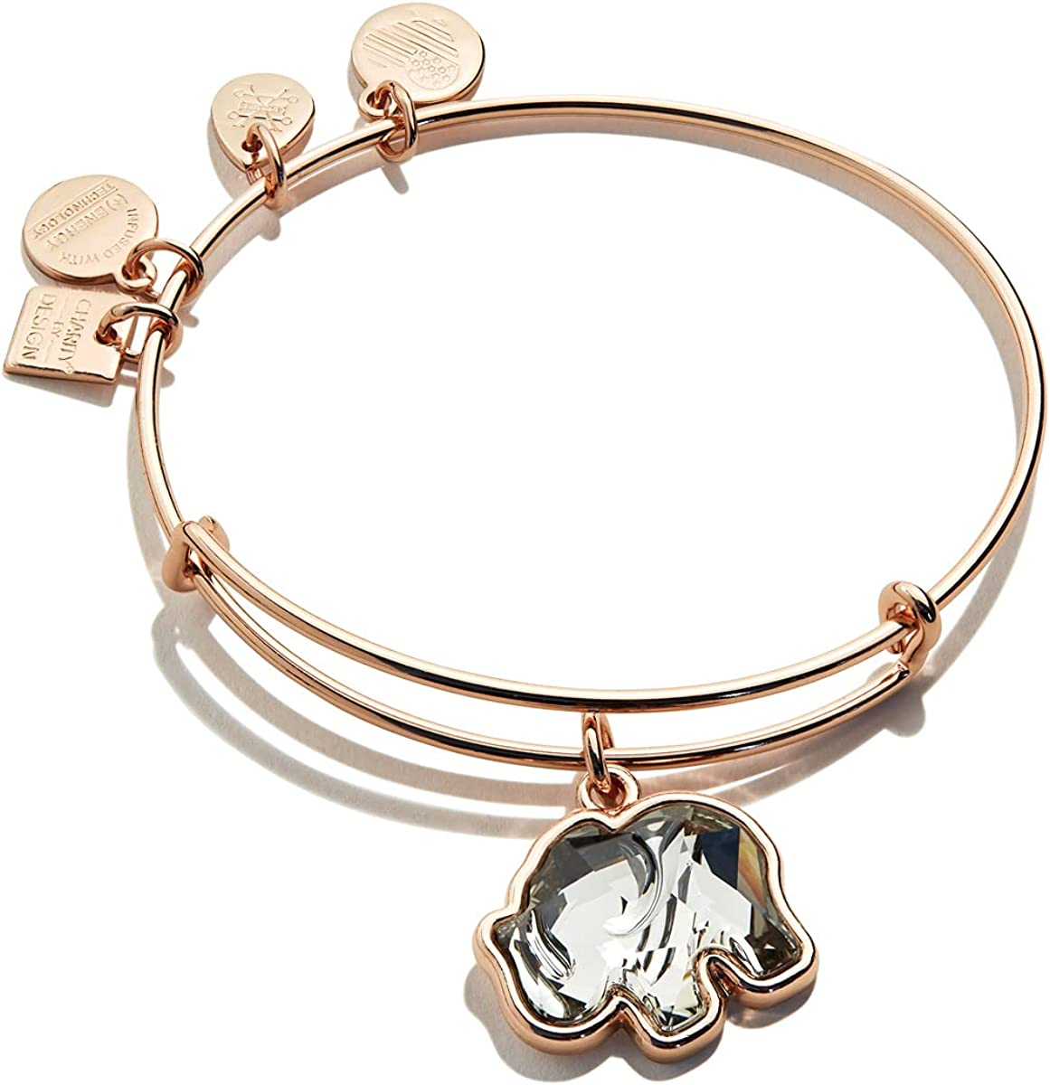 Alex and Ani Path of Symbols Expandable Bangle for Women, Crystal Elephant Charm, Shiny Finish, 2 to 3.5 in