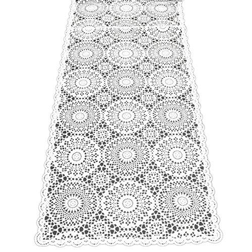 Kersten Outdoor-Tischläufer abwischbar wetterfest 'Crochet' (40 x 150cm, Weiß)