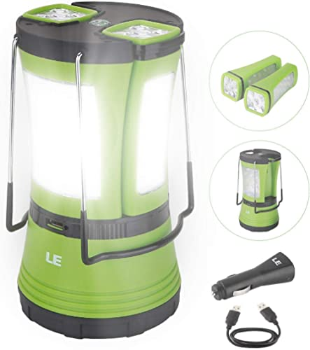 LE 600lm Rechargeable LED Camping Lantern Detachable Portable Flashlight Torch Water Resistant Tent Light with USB Cable Car Charger for Camping Hiking Outdoor Emergency product image