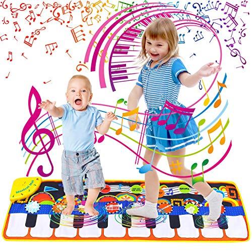 Sinwind Klavier Matte, Piano Mat mit 19 Tasten Touch Play Decke, 8 Auswählbare Musikinstrumente, Musikmatte Kinder Baby Spielzeug für ab 1–6 Jahre Jungen Mädchen
