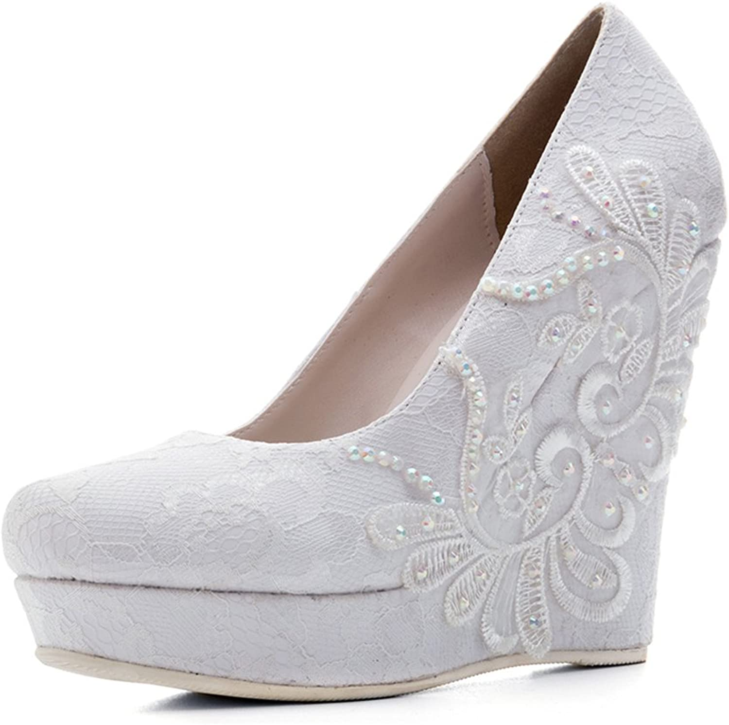 Themost Fancy Womens White Lace Platform High Heel Wedge Pumps Bride Wedding Party shoes
