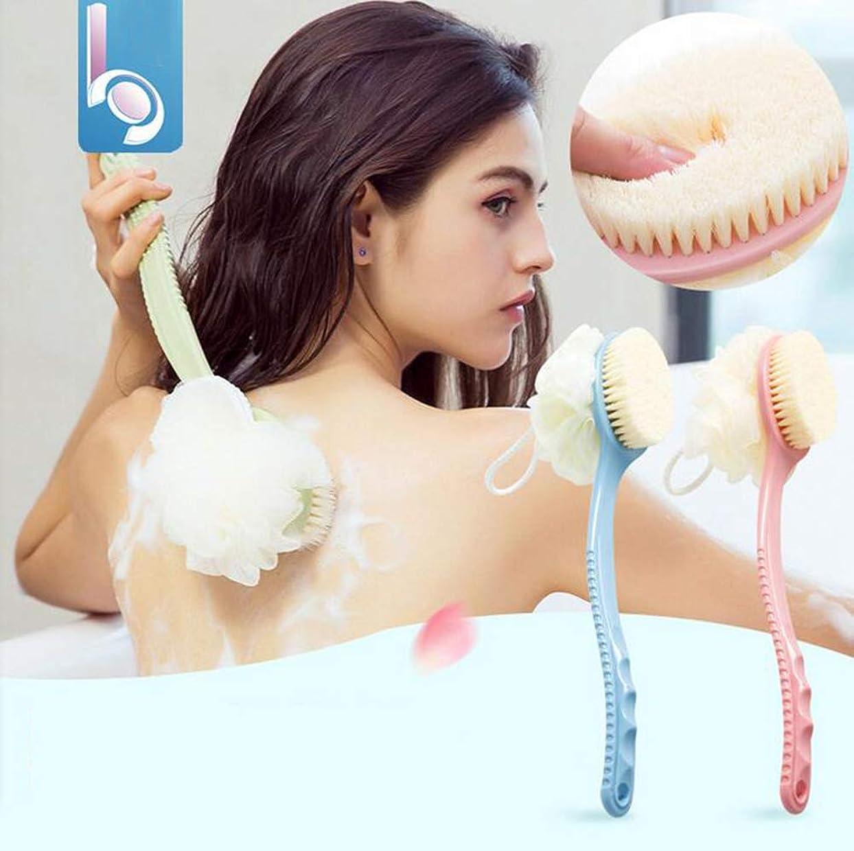 かりて定数リッチロングハンドルバスブラシ、ソフトファーバスタオル入浴バックセルライトスクラブのための入浴アーティファクト,Pink