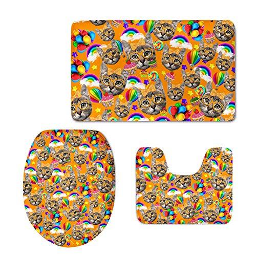 YSDDM Badmat Oranje Wasbaar Toilet Stoelhoezen Warmer Leuke Kitty Kat Tapijt Toilet Stoelhoezen Comfort Dik Comfortabele WC Mat Pad-in Toilet Stoelhoezen van Thuis & Tuin