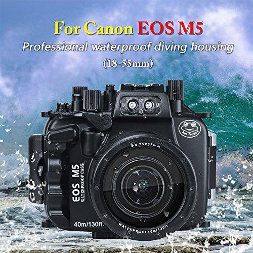 para Canon EOS M5 se Puede Utilizar con Lentes de 18-55 mm, 130 pies/40 m, Carcasa Impermeable para cámara submarina (Carcasa + Filtro Rojo)