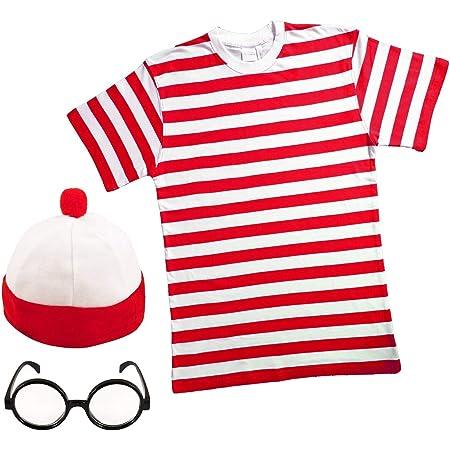 "Paper Umbrella MENS LADIES RED & WHITE STRIPED TSHIRT HAT & GLASSES Fancy Dress 34-36"" Chest (Men: Small)"