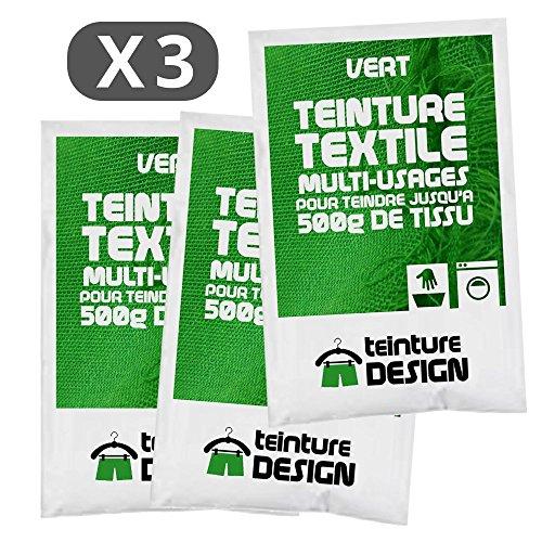 Juego de 3bolsas de tinte textil para ropa y telas naturales, color verde