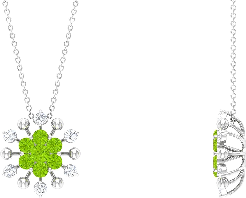 Ranking TOP2 1.25 CT Created Kryptonite and Fashion Cluster Floral Ne Pendant Diamond