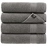 Grey Bath Towels Quick-Dry High Absorbent 100% Turkish Cotton Lightweight Towel for Bathroom, Guests, Pool, Gym, Camp, Travel, College Dorm, Shower