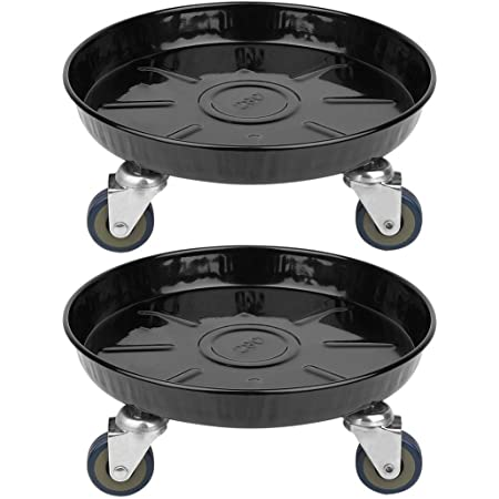 2x Plant Caddy on Wheel Indoor Heavy Planter Dolly Large Flower Mover Drain Hole